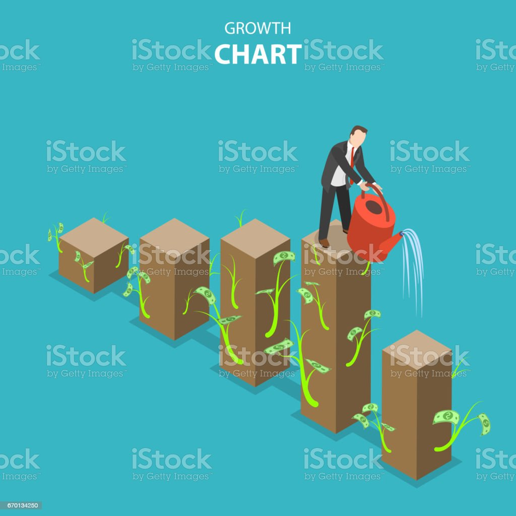Growth chart flat isometric vector illustration vector art illustration
