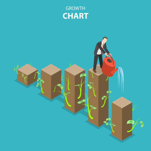 Growth chart flat isometric vector illustration vector art illustration