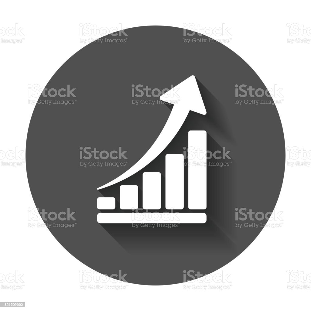 Growth chart icon grow diagram flat vector illustration business growth chart icon grow diagram flat vector illustration business concept on black round background ccuart Choice Image