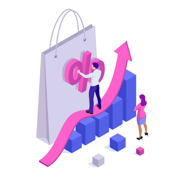 growth chart stats, big sale, sellout, retail, black friday discount. investors and traders achieve their goals. vector isometric illustration. - sprzedawać stock illustrations