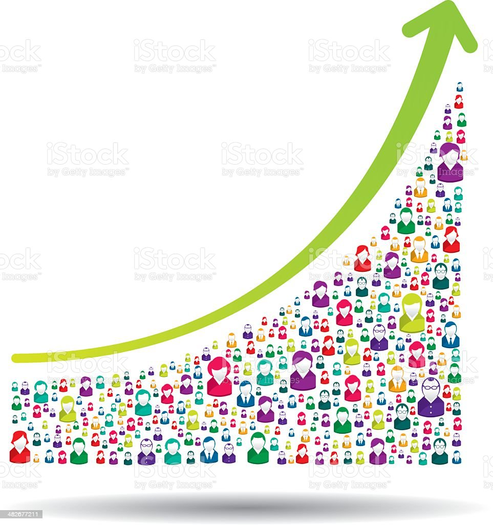 Growth chart vector art illustration