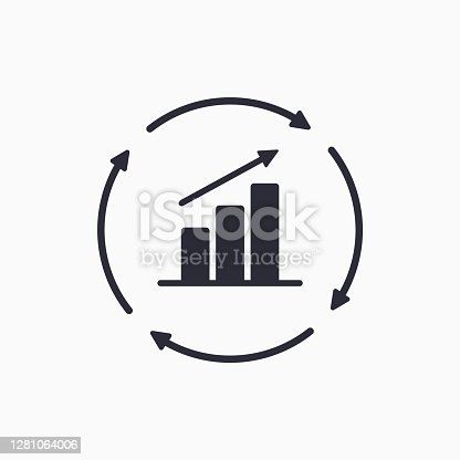 Growth chart with circular arrows icon. Continuous growth line icon. Vector