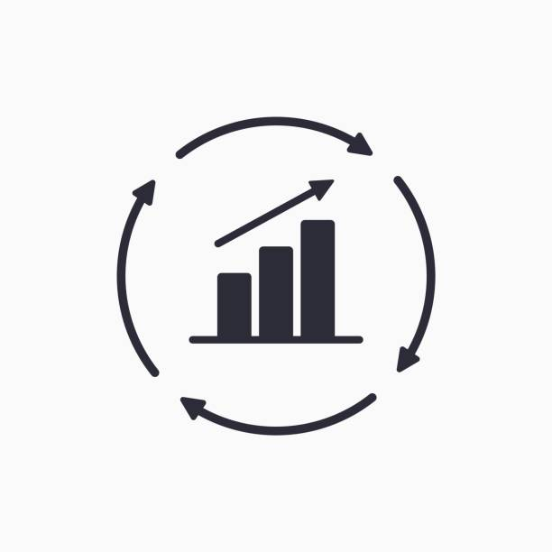 Growth chart with circular arrows icon. Continuous growth line icon. Vector Growth chart with circular arrows icon. Continuous growth line icon. Vector continuity stock illustrations