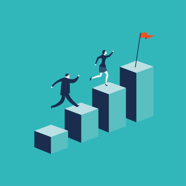 Growth concept with businessman jumping on chart columns. Success, achievement, motivation business symbol, Growth vector art illustration