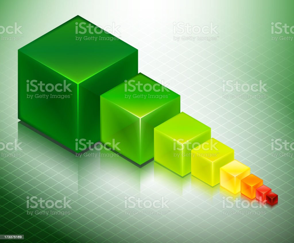 Growth Cubes Concept on Custom Business Background royalty-free stock vector art