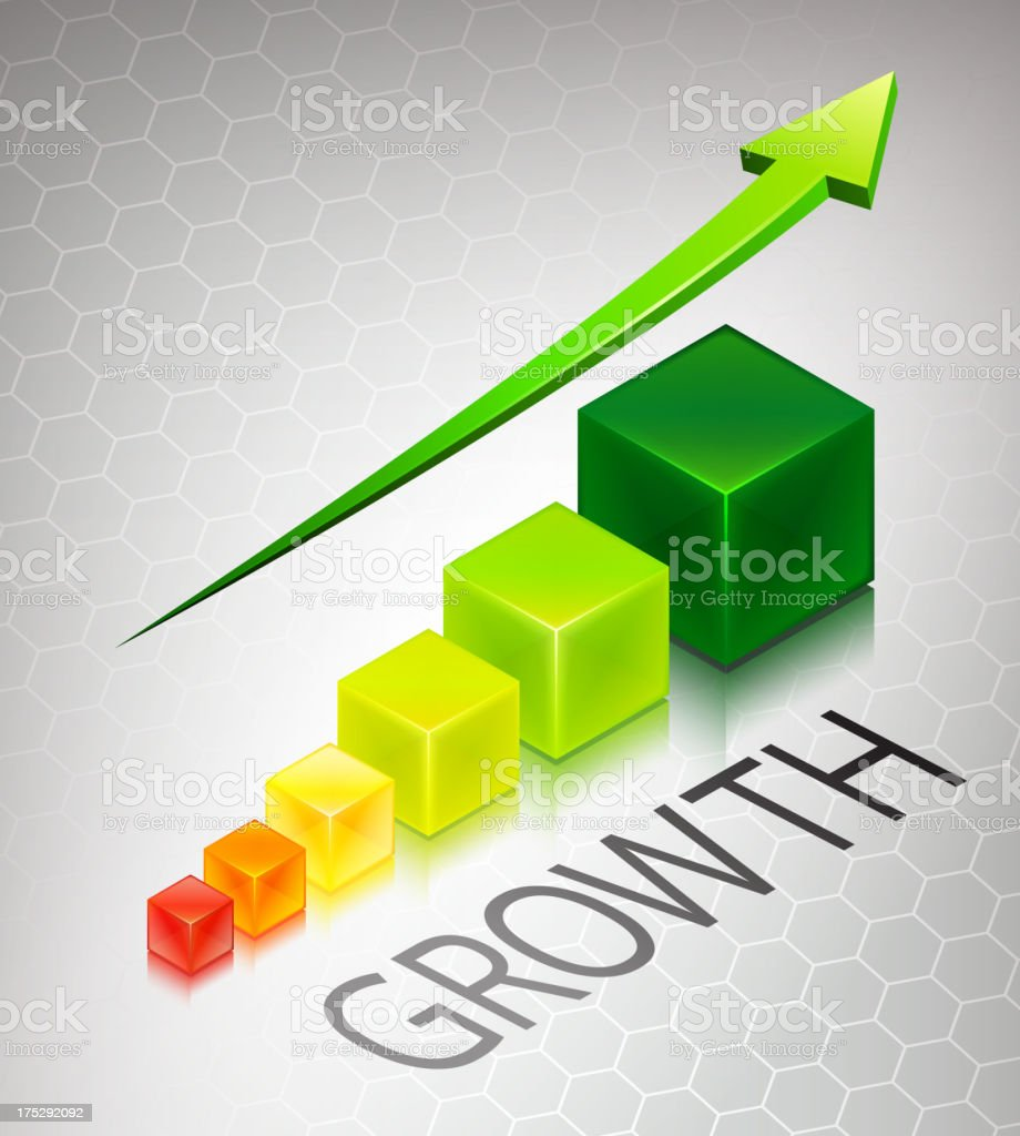 Growth Cubes Concept with Arrow on Custom Business Background royalty-free growth cubes concept with arrow on custom business background stock vector art & more images of arrow symbol