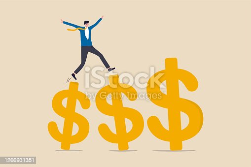 istock Growth earning investment, increasing income and bonus in career or success in financial business concept, businessman professional manager walking and jumping on growth golden dollar signs. 1266931351