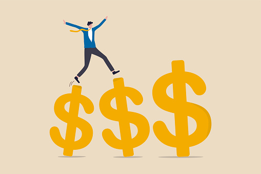 Growth earning investment, increasing income and bonus in career or success in financial business concept, businessman professional manager walking and jumping on growth golden dollar signs.
