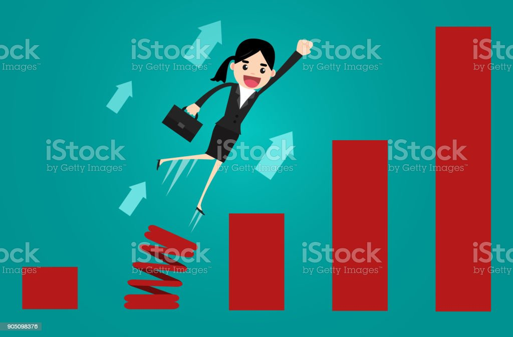 Growth for business. Business people spring up over bar chart. Concept business vector illustration. vector art illustration