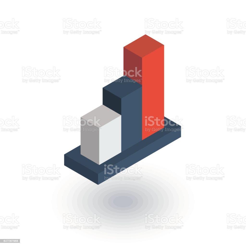 Wachstum-Graph-Diagramm, Markterfolg, isometrische flache Symbol bar tanken. 3D Vektor – Vektorgrafik