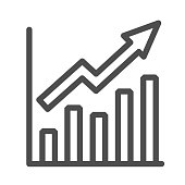 Growth graph line icon, Business concept, Infographic sign on white background, financial growing chart with arrow icon in outline style for mobile concept and web design. Vector graphics