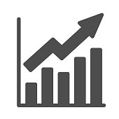 Growth graph solid icon, Business concept, Infographic sign on white background, financial growing chart with arrow icon in glyph style for mobile concept and web design. Vector graphics