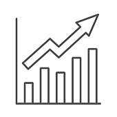 Growth graph thin line icon, Business concept, Infographic sign on white background, financial growing chart with arrow icon in outline style for mobile concept and web design. Vector graphics