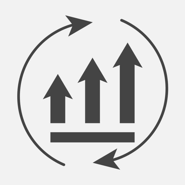 bildbanksillustrationer, clip art samt tecknat material och ikoner med tillväxt diagram med pilar i en cirkel. vector business ikonen schema. - kontinuitet