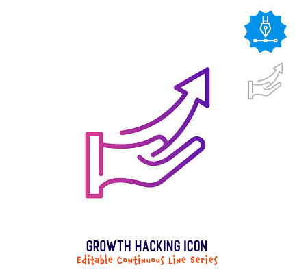Growth Hacking Continuous Line Editable Icon