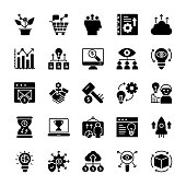 Growth Hacking Glyph Vector Icons