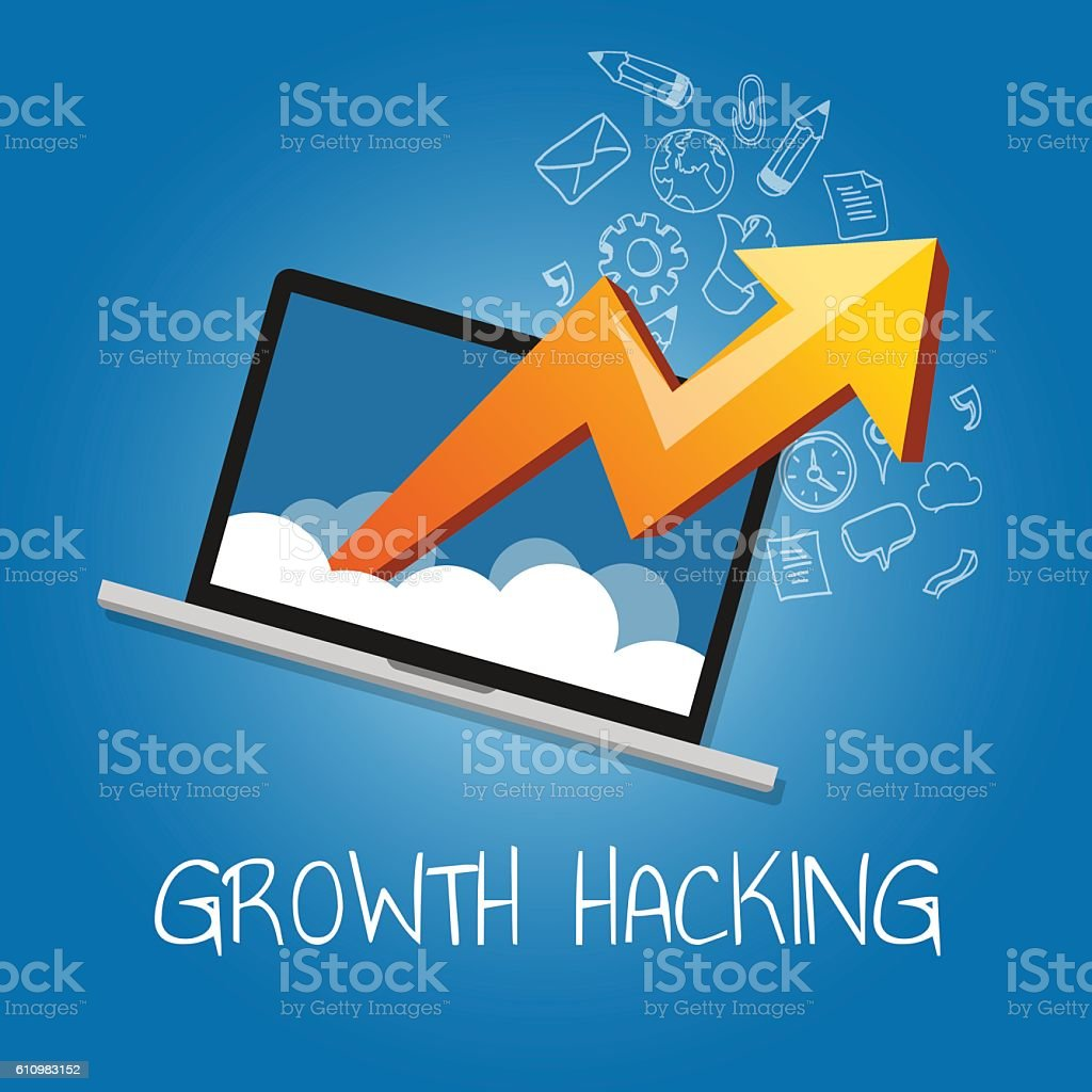 growth hacking ways how business technology company strategy to improve vector art illustration