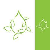 Growth leaf design vector shaped droplet for element design