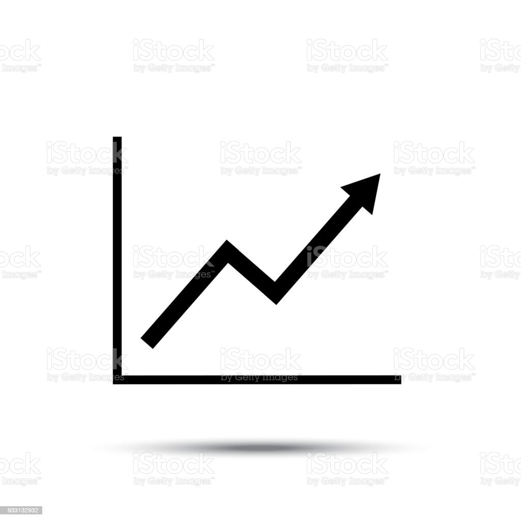 Growth Line Chart Icon Growing Diagram Flat Vector