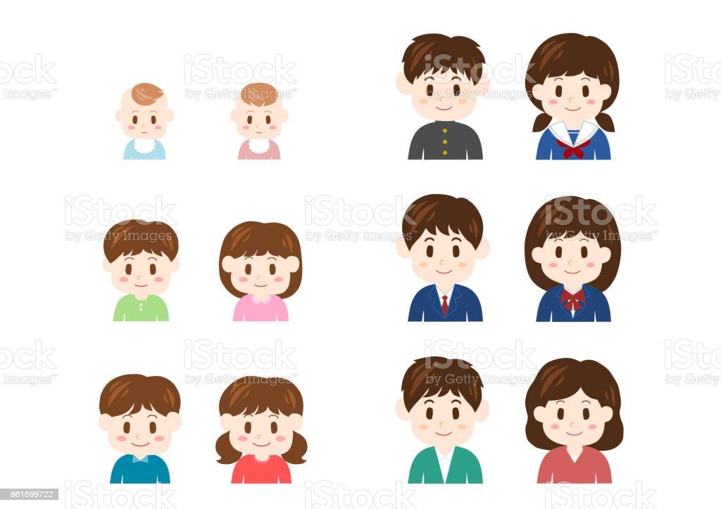 Growth of children vector art illustration