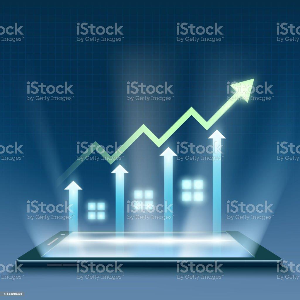 Crecimiento financiero gráfico - ilustración de arte vectorial