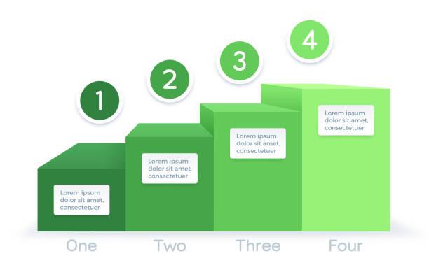 wachstumsprozess grafik infograph infograph - treppe stock-grafiken, -clipart, -cartoons und -symbole