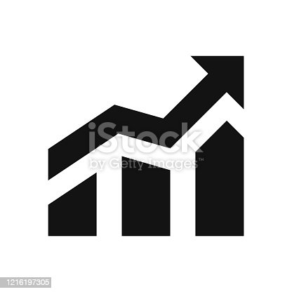 655652514 istock photo Growth profit icon vector. Progress icon, sign. Isolated icon. Growing bar graph icon with arrow Isolated. Profit increase symbol. Profit growth chart. Vector illustration 1216197305