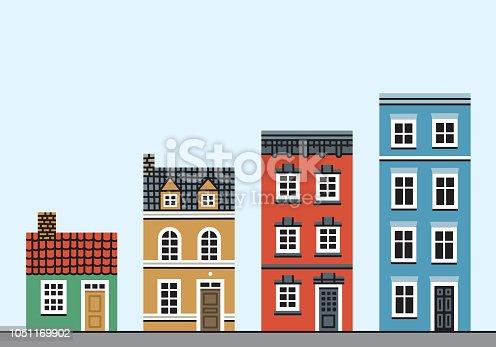Set of four houses. Vector EPS 10, HD JPEG 4000 x 2800 px