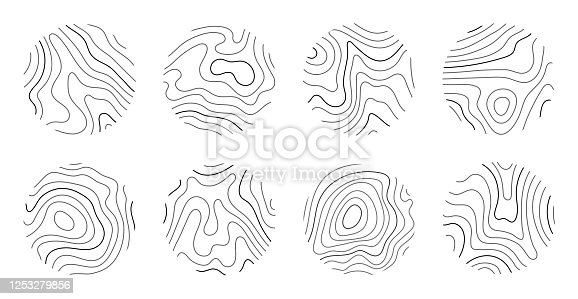 Growth rings of a tree. Wood stump line design. Vector illustration.