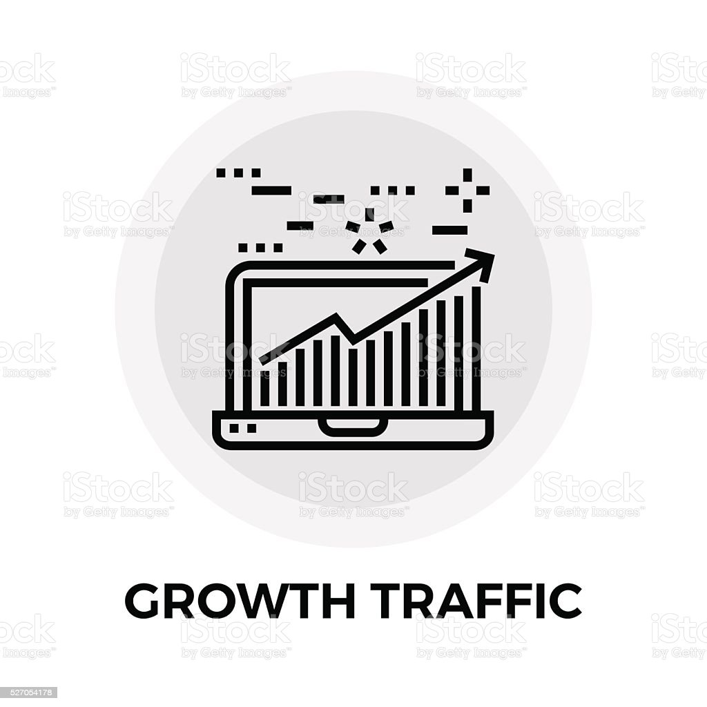 Growth Traffic Line Icon vector art illustration