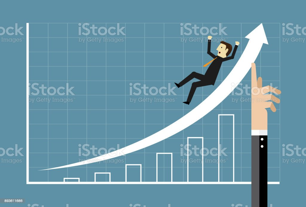 Growth up with businessman vector art illustration