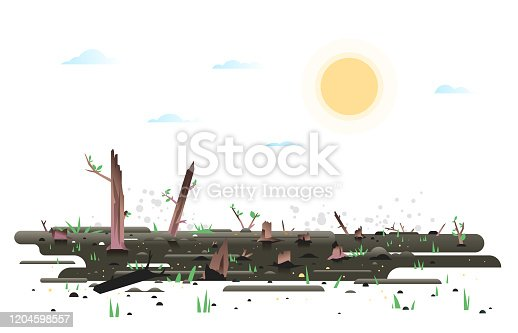 Growth green small young leaves and grass after wildfire, nature reborn after fire concept illustration in flat style isolated, charred earth with young plants