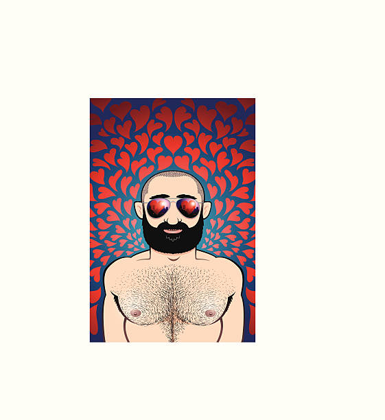 Gruff Valentine Muscle bear of a man, black beard, shaved head, hairy chest. Groovy aviator sunglasses with a heart and city reflection in them. Psychedelic heart background. A big butch Valentine...! shaved head stock illustrations