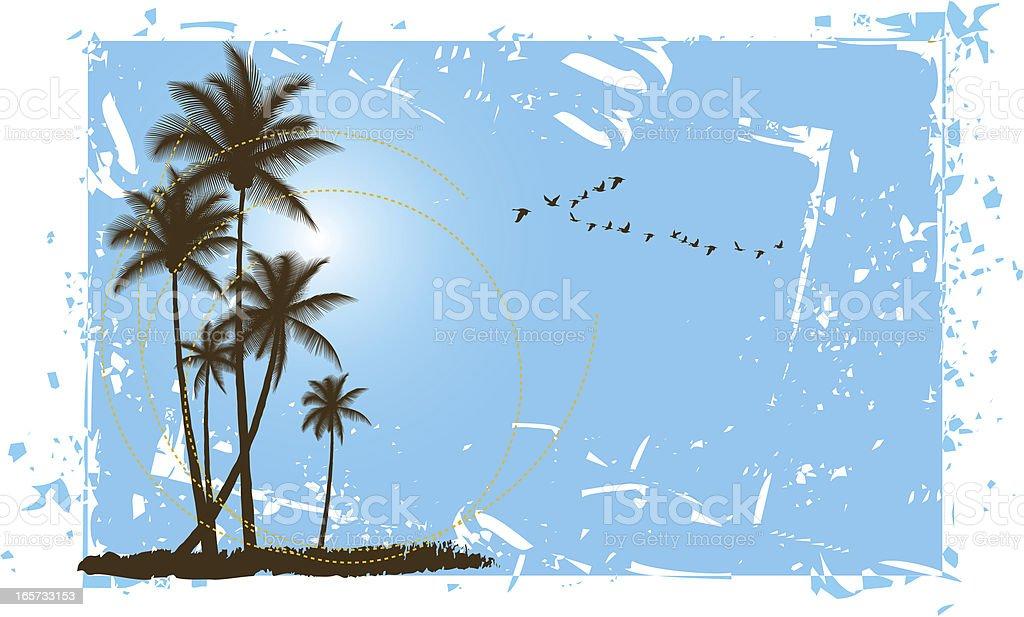 Gruged Palm Scene vector art illustration