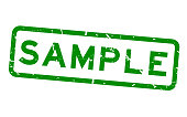 Grugne green sample word square rubber seal stamp on white background