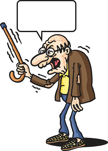 grump old man - old man slippers stock illustrations, clip art, cartoons, & icons