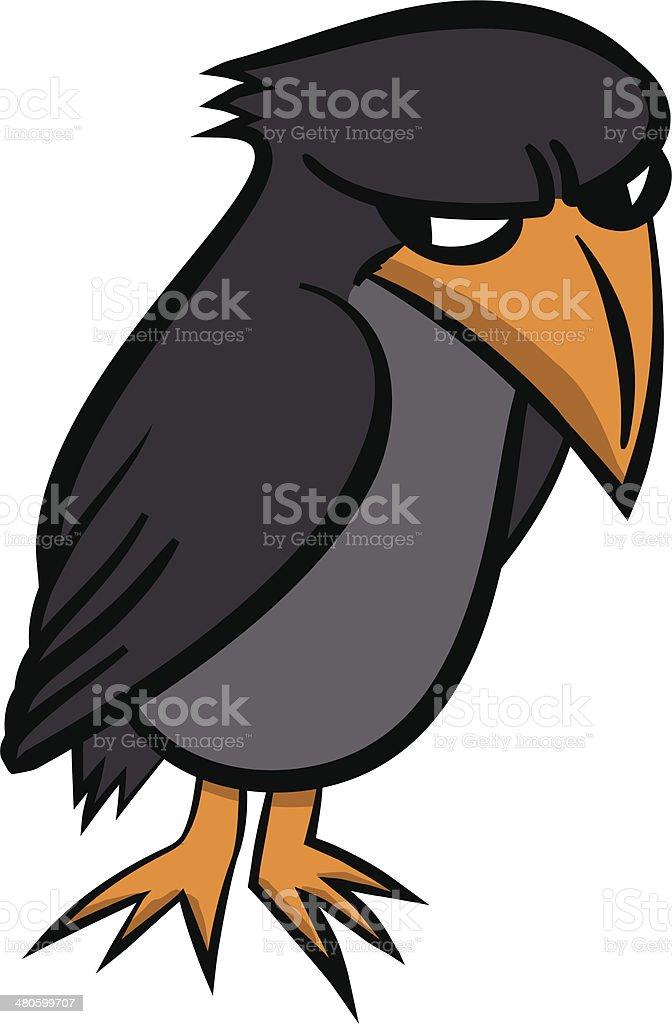 grumpy bird vector art illustration
