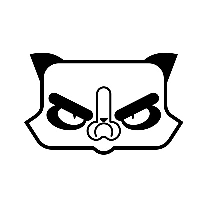 Grumpy Cat face icon. Angry pet. vector illustration