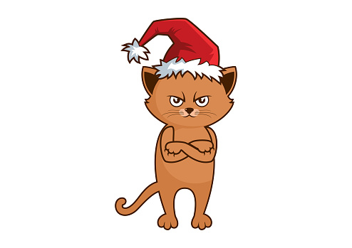 Grumpy cat with Christmas hat icon vector