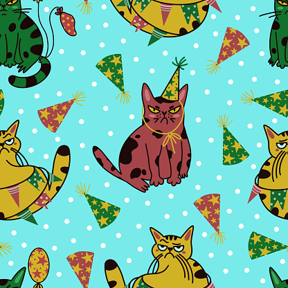 Grumpy cats seamless vector pattern. Sad multicolored animals celebrate their birthday. Cheeky kittens in party caps and garlands. Pets with balloons at the party. Drawn by hand, flat style