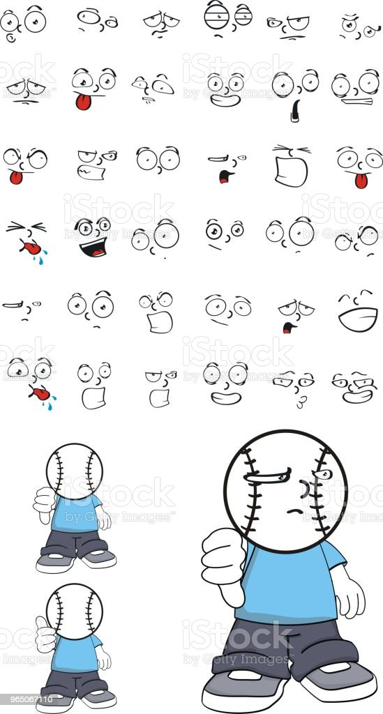 grumpy little base ball head kid expressions set royalty-free grumpy little base ball head kid expressions set stock vector art & more images of anger
