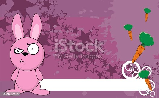 Grumpy Little Bunny Cartoon Expression Background Stock Vector Art & More Images of Animal 965072400