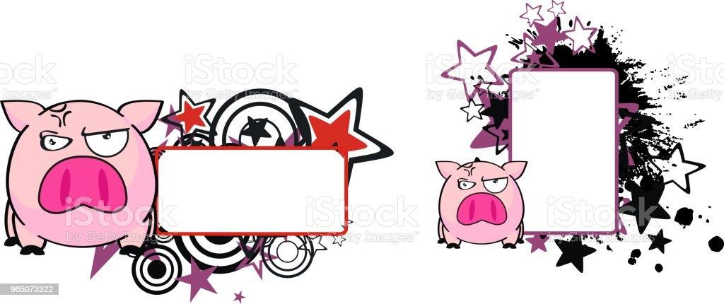 grumpy little pink pig cartoon copy space set grumpy little pink pig cartoon copy space set - stockowe grafiki wektorowe i więcej obrazów ameryka Łacińska royalty-free