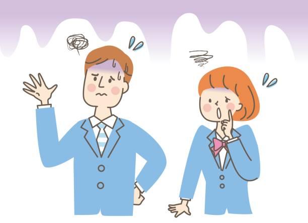 illustrazioni stock, clip art, cartoni animati e icone di tendenza di grumpy male and female students - two students together asian