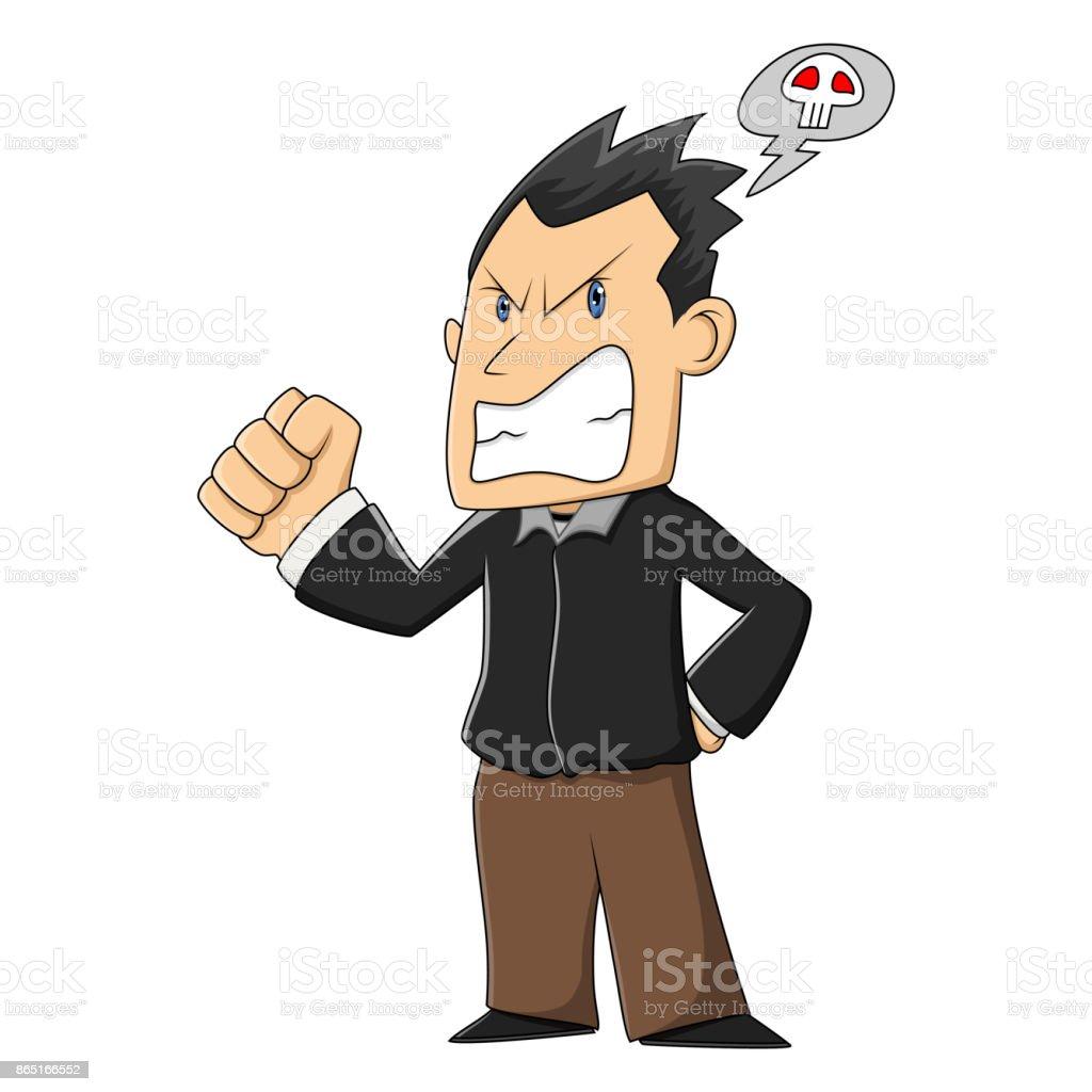 Grumpy man cartoon vector art illustration