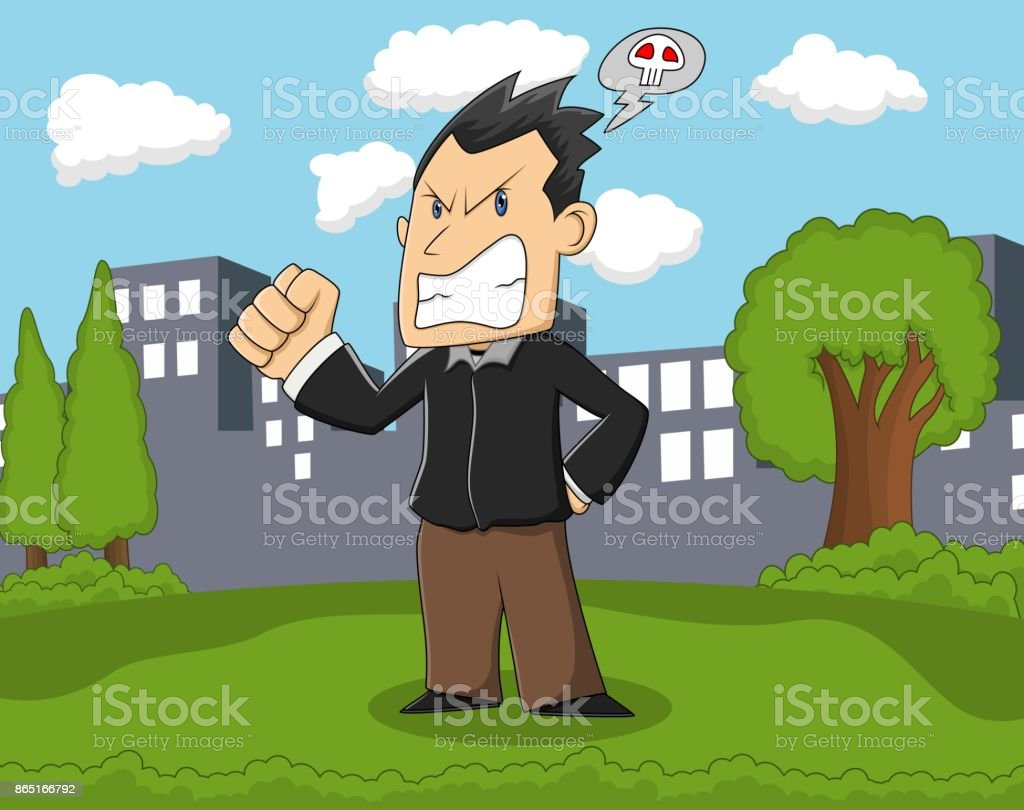Grumpy man standing in the park with city background cartoon vector art illustration