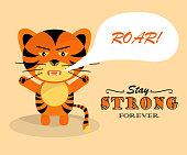 istock Grumpy roaring tiger cub. Symbol of 2022 1331321202