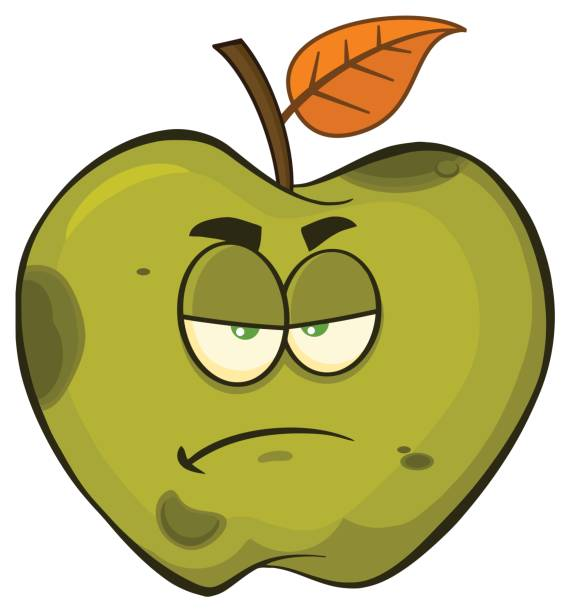 grumpy rotten green apple fruit cartoon mascot character - rotten apple stock illustrations, clip art, cartoons, & icons