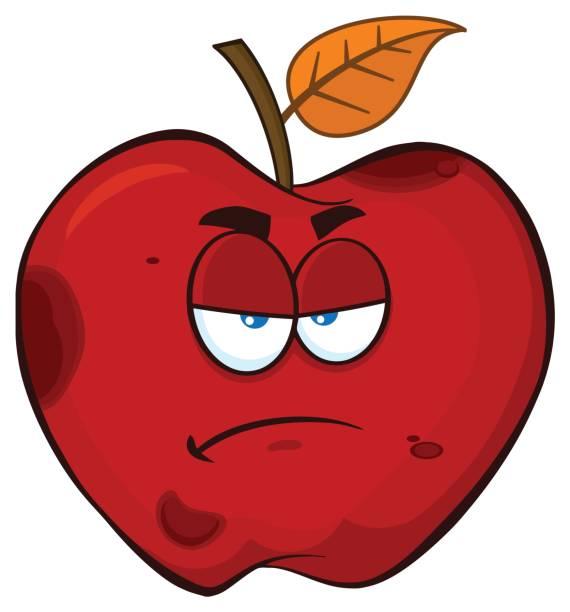 grumpy rotten red apple fruit cartoon mascot character - rotten apple stock illustrations, clip art, cartoons, & icons