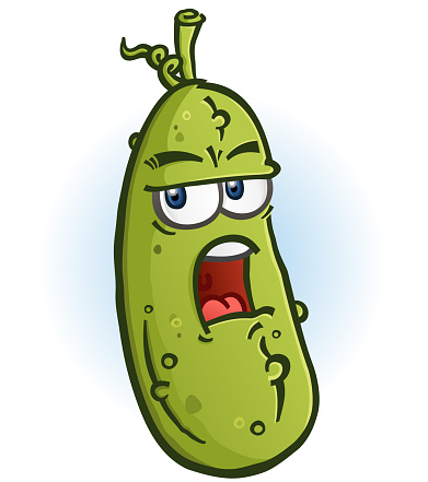 A green juicy dill pickle cartoon character with a grumpy grouchy face